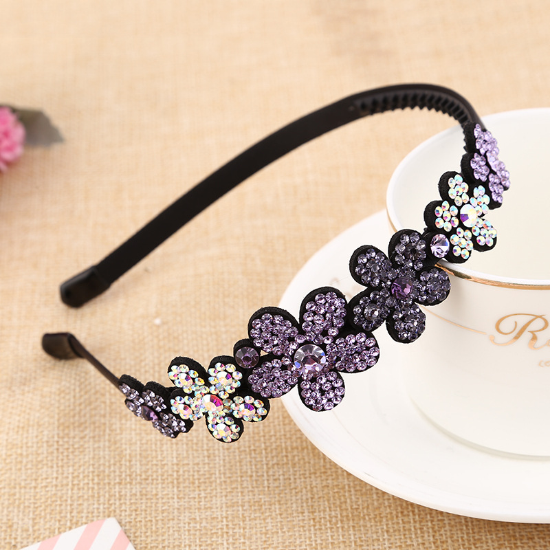 Fashion Women Girl Metal Crystal Flower Hairbands Headband Jewelry Headwear Hair Band Accessories