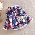 Mais recente Princesa Quente Meninas Floral Grosso Casacos de inverno Jaqueta de Manga Longa Casaco de Algodão