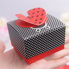 20pcs/lot Handmade Ladybug Black Candy Box with White Dot for Newborn Baby Shower/Birthday Favors and Gifts Party Accessories