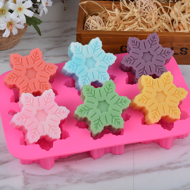 6 Forms Silicone Soap Mold 3d Snowflake Soap Mould For Soap Making Safe Handmade Craft Flowers Bathroom Kitchen Soap Molds