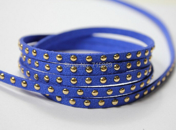 Free Ship 100 Meterse 5mm*1.5mm Royal Blue Glitter Flat  Faux Suede Leather Cord With Gold Studs