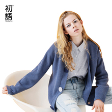 Toyouth Cardigan Women Solid Long Sleeve Blue Sweater Casual V Neck Knitted Sweaters Single Breasted Pull Femme Outerwear Coat