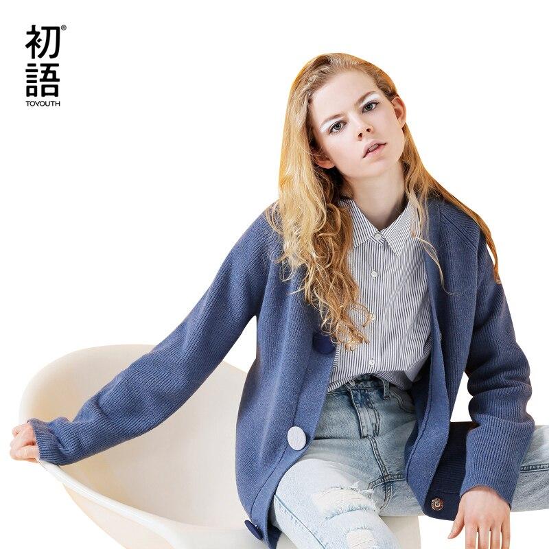 Toyouth cardigan feminino sólido manga longa azul camisola casual com decote em v de malha camisolas single-breasted pull femme outerwear casaco