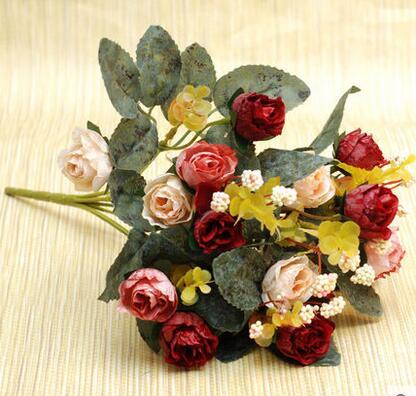 유럽 스타일의 장미 실크 장미 꽃 홈 룸 장식 좋은 품질 저렴한 판매 가격 무료 배송