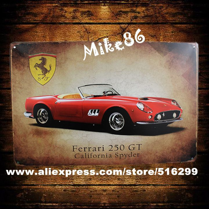 [ Mike86 ] California <font><b>Spider</b></font> 250 GT Red Car Metal <font><b>Signs</b></font> Gift PUB Wall Painting Poster Craft Bar Decor AA-90 Mix order 20*30 CM