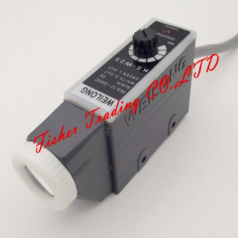 KS-W22 de capteur de marque de couleur Weilong KS-W23 pour des machines de fabrication de sac, commutateur photoélectrique d'oeil de 10 ~ 30VDC avec le point de lumière LED blanche