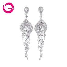 Free Shipping 2015 Latest Design Sterling Silver Jewelry Rhinestone Earrings Best Women Gifts Fashion  Drop Earrings