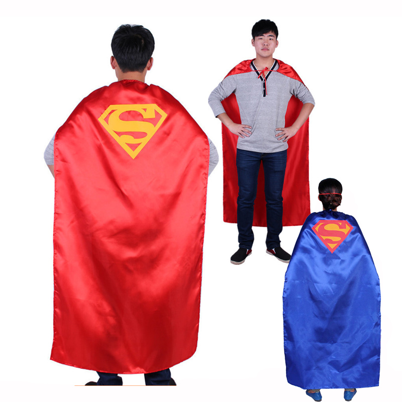 90cm 140cm halloween party costume adult children red satin superman superhero capes cloak red blue two colors