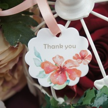 multi-use 50pcs thank you tropical flower design Scrapbooking decoration tags as wedding gift label DIY use