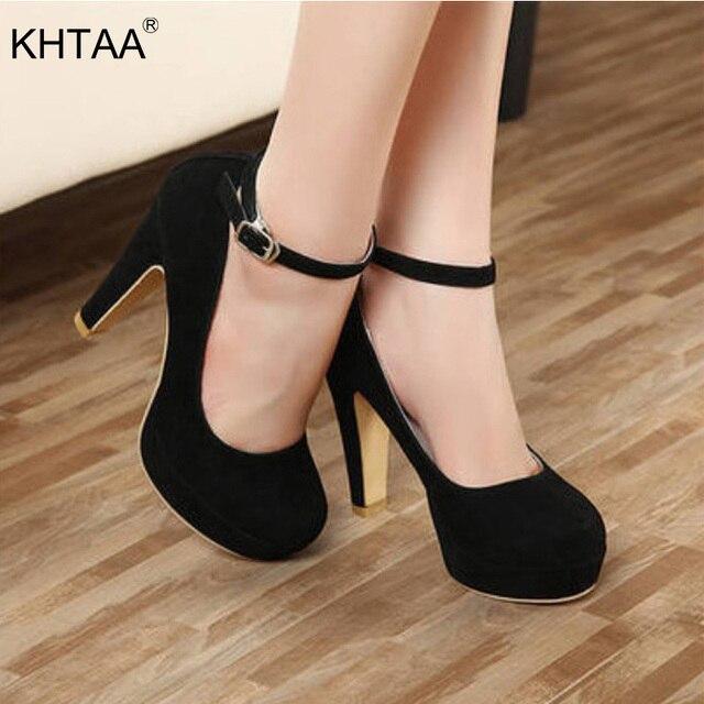KHTAA Kadın Pompaları Başak Topuk Ayakkabı Ofis Klasik Ayak Bileği Toka Kayış Yüksek topuklu ayakkabılar Kadın Moda Kariyer Ayakkabı Bayanlar Için
