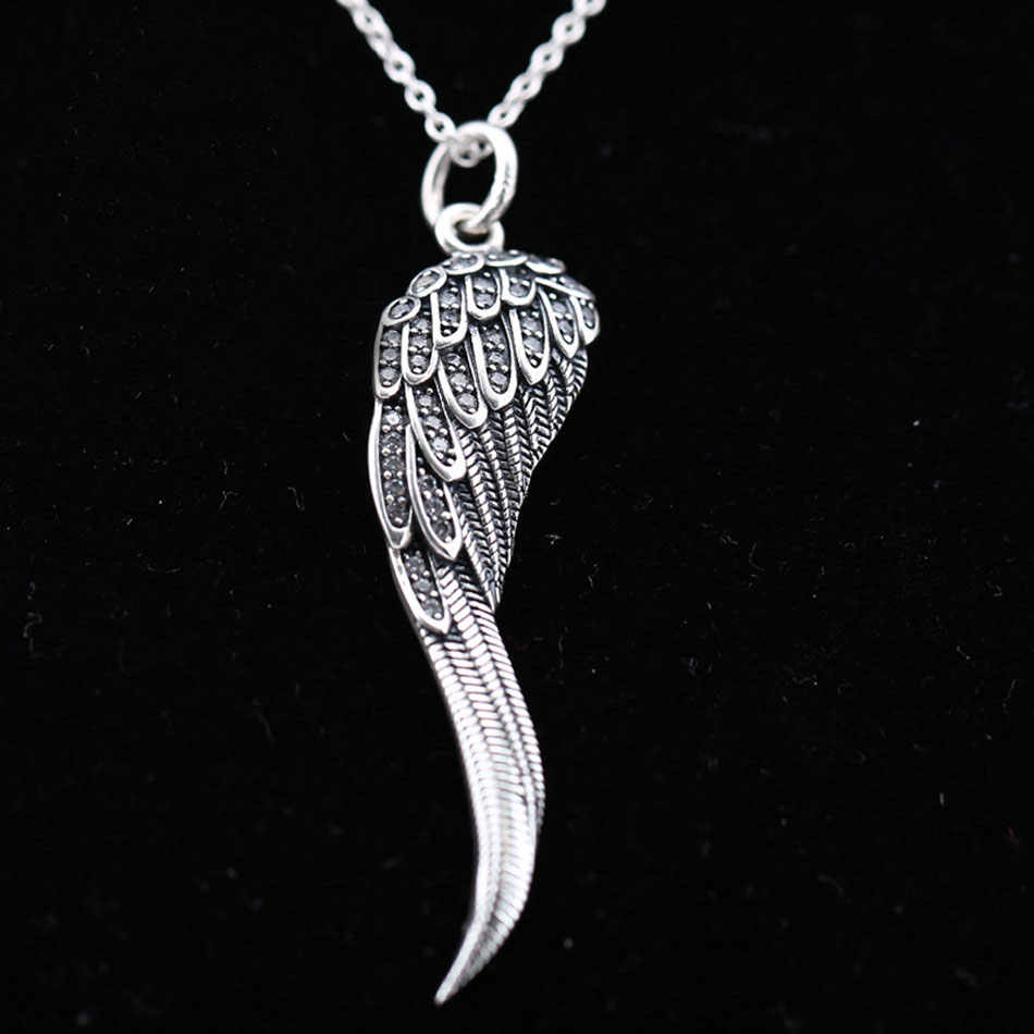06ba8f884 ... Light as a Majestic Feathers Eagle Wings Pine Needle Leave Necklace For  Women Gift Pandora Jewelry ...