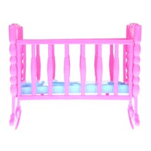 Doll House Accessories Plastic Miniature Cradle Simulation Crib Toy Furniture Toy For Dollhouse Playing House Toys Decor Toys(China)