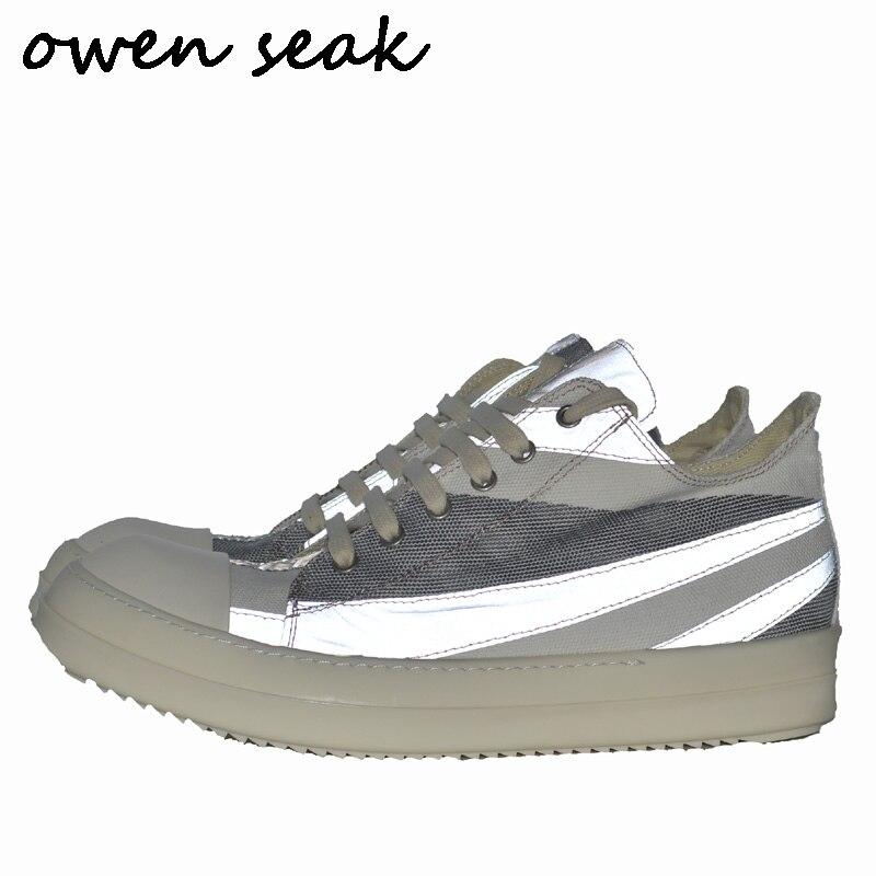 أوين سيك جديد وصول الرجال حذاء قماش عارضة الدانتيل يصل الفاخرة المدربين حذاء رياضة العلامة التجارية الشقق الصيف منخفضة المضاء أحذية كبيرة الحجم-في أحذية رجالية غير رسمية من أحذية على  مجموعة 1