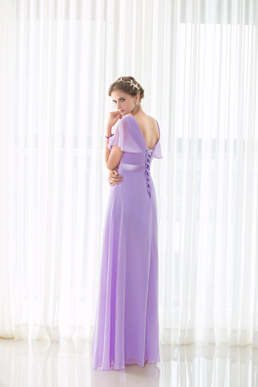 Real Pictures robe honneur Long Lilac Bridesmaid Dresses Short Sleeves V neck Floor Length Chiffon Bridesmaid Gown Free Shipping 2