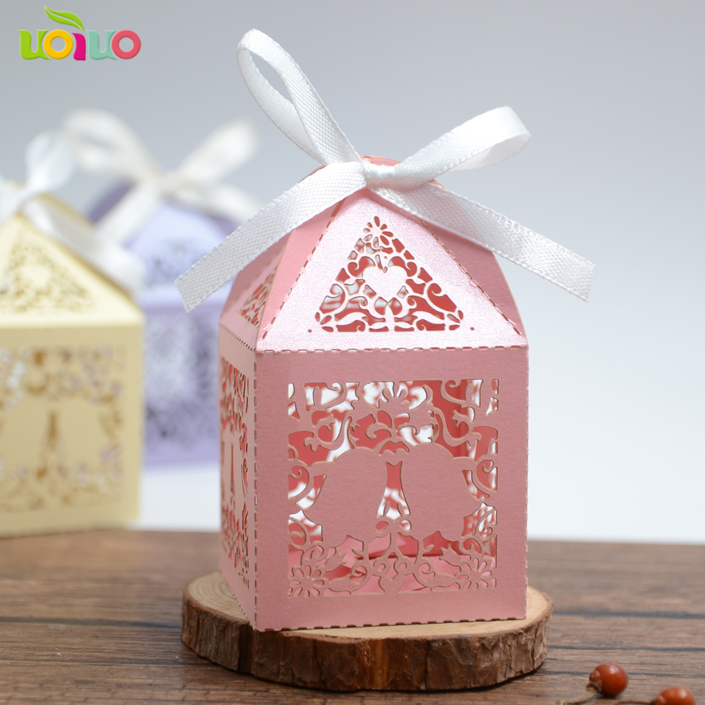50pcs gold Flowers Laser Cut Favor Candy Box Bomboniere with Ribbons ...