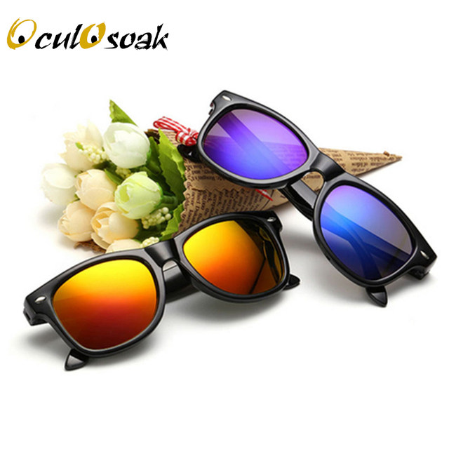 OculOsoak 2019 New Fashion Children Sunglasses Kids Boy Girl Sun Glasses Plastic Frame 8 Colors Cute Cool Goggles UV400