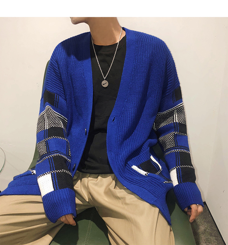 Korean Oversized Sweater Cardigan Men Plaid (32)