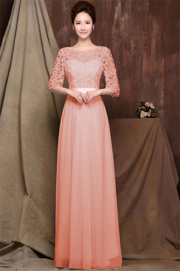 Mujeres del vestido largo Encaje gasa media manga delgada vestido ...