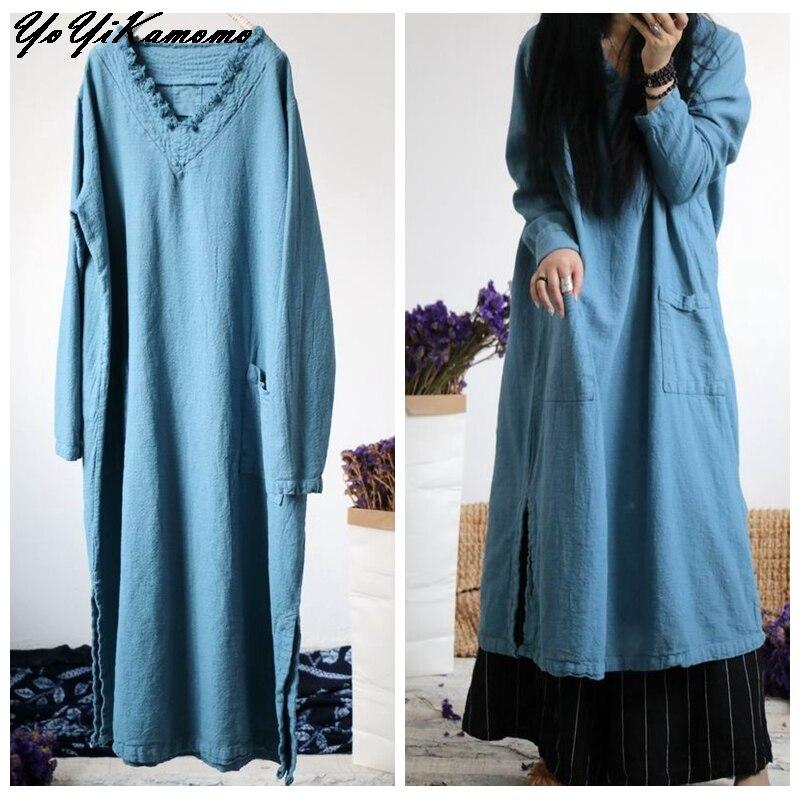 YoYiKamomo Cotton Linen Dress Autumn Winter Women 2017 New Maxi Original V neck Loose Casual Women Robe-in Dresses from Women's Clothing    2