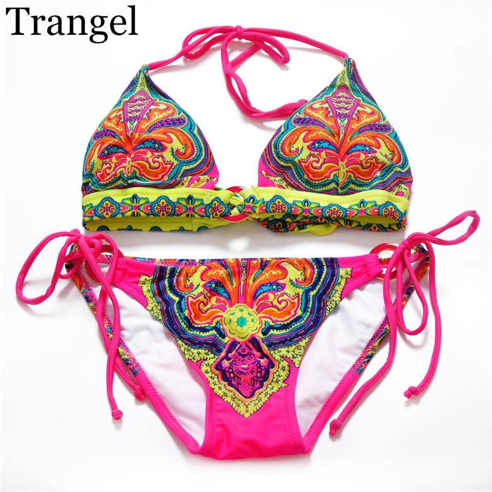 Trangel Bikinis women Biquini Vintage swimwear Retro Print Swimsuit Halter Bathing Suit Bikini Set цена 2017