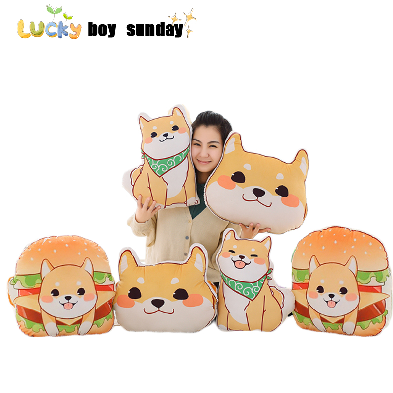 Shiba Inu plush toy cute Shiba Inu soft pillow decorative pillow cushion dog toy hot dog food plush cushion dog head pillow 6 kinds of simulation food plush pillow cushion funny food nap pillow creative kids toy birthday gift for children high quality