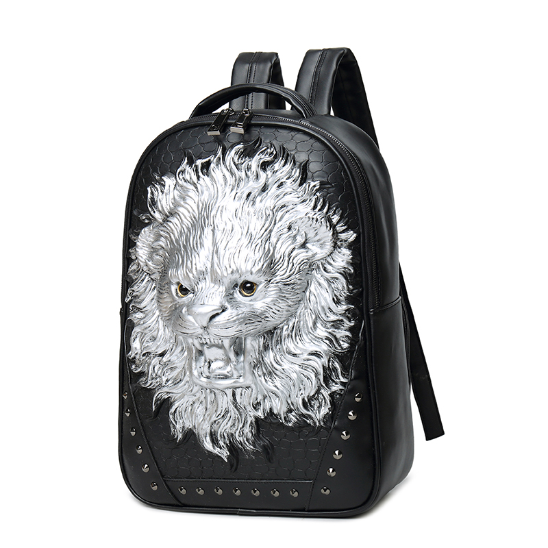 2017 High Quality 3D Lion Head Embossing Rivet Satchel Man Backpack Halloween Cool Leather laptop Travel Soft School Bags2017 High Quality 3D Lion Head Embossing Rivet Satchel Man Backpack Halloween Cool Leather laptop Travel Soft School Bags