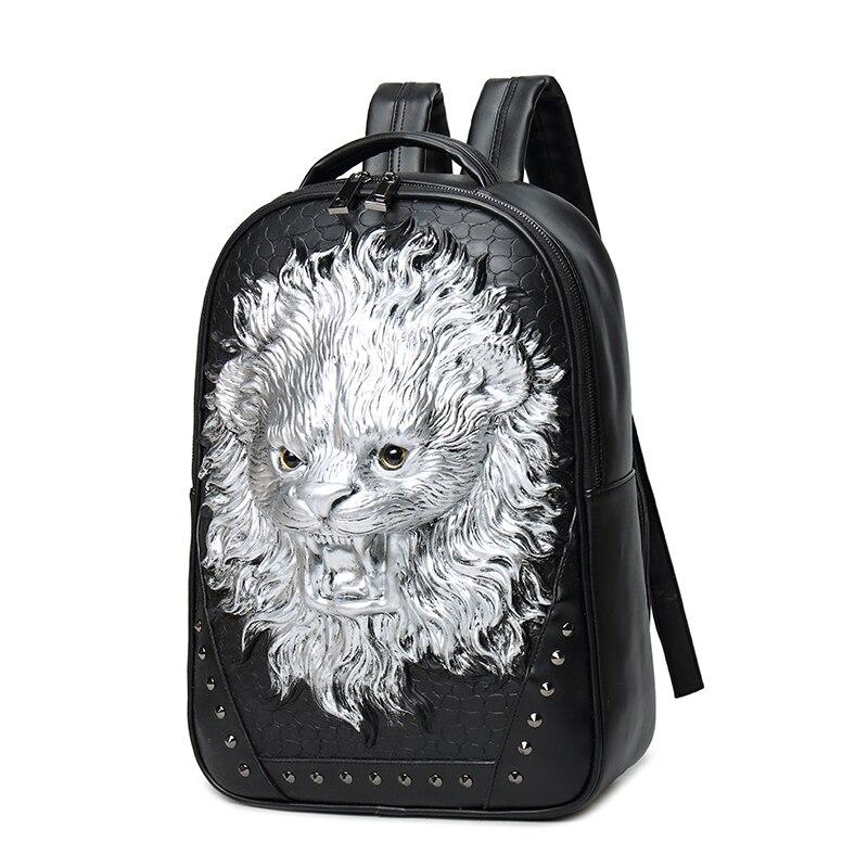2017 haute qualité 3D tête de Lion gaufrage Rivet sacoche homme sac à dos Halloween Cool en cuir ordinateur portable voyage doux sacs d'école