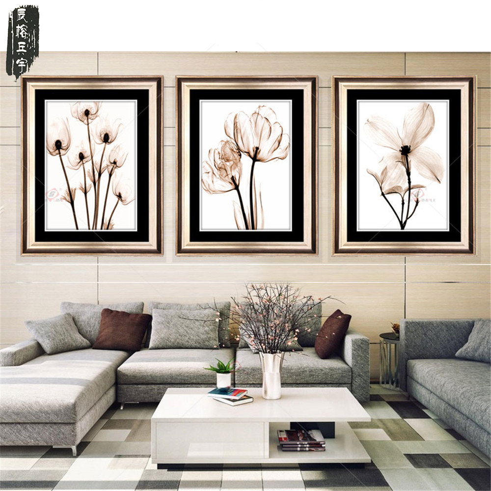 3PCS Modular Picture Art Oil Painting Home Decoration painting Canvas paintings Pictures Print Frameless Flower for Living Room