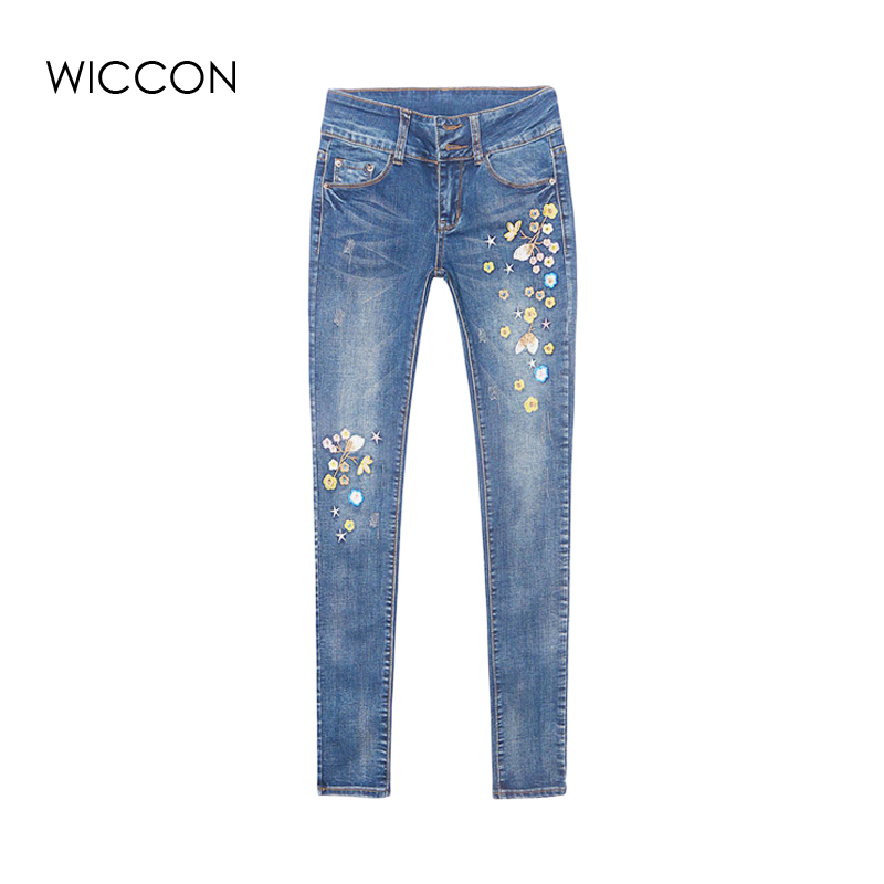Autumn Flower Embroidery   Jeans   Women Pantalon Femme Woman   Jeans   Skinny Trousers winter Denim Pants Stretch Pencil   Jeans   WICCON