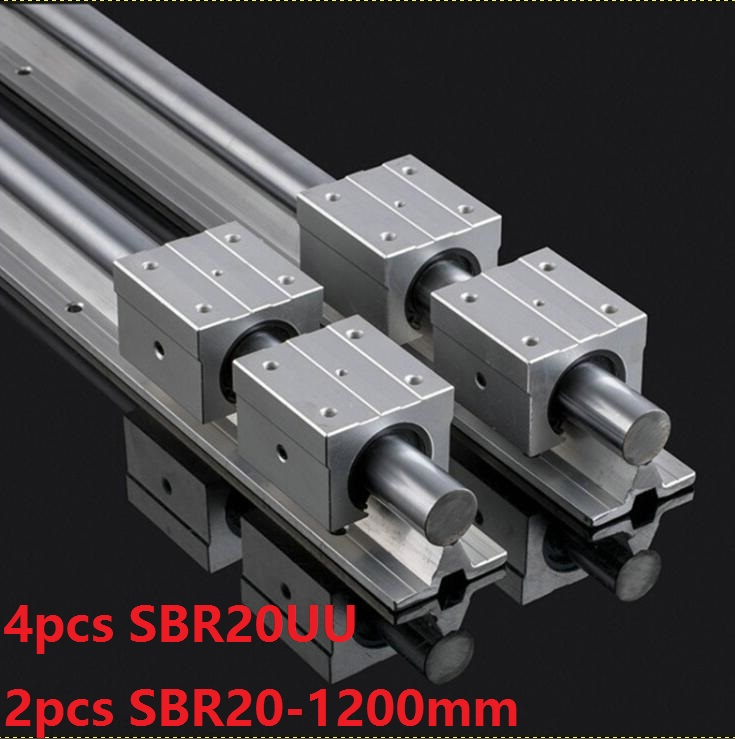 2pcs SBR20 20mm -L 1200mm support guide linear rail + 4pcs SBR20UU linear blocks CNC parts linear guide