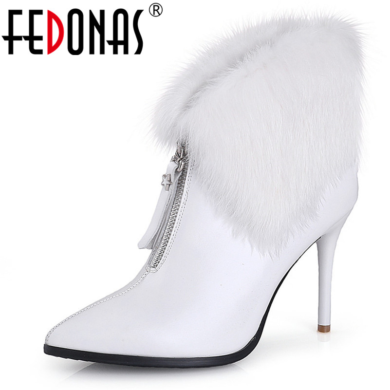 FEDONAS Fashion Women Sexy Autumn Winter New Pumps High Heels Party Wedding Shoes Woman Female Genuine Leather Short Boots fedonas vintage women genuine leather shoes spring autumn winter high quality fashion wedding party shoes woman new flats