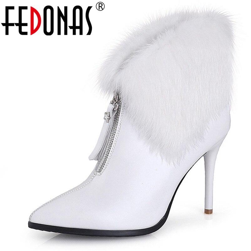 Mode Hiver Hauts Sexy Femme Fedonas blanc Courtes Mariage Bottines Noir Automne De En Cuir Nouvelles Pompes Chaussures Femmes Véritable Parti Talons dnBnqfx4