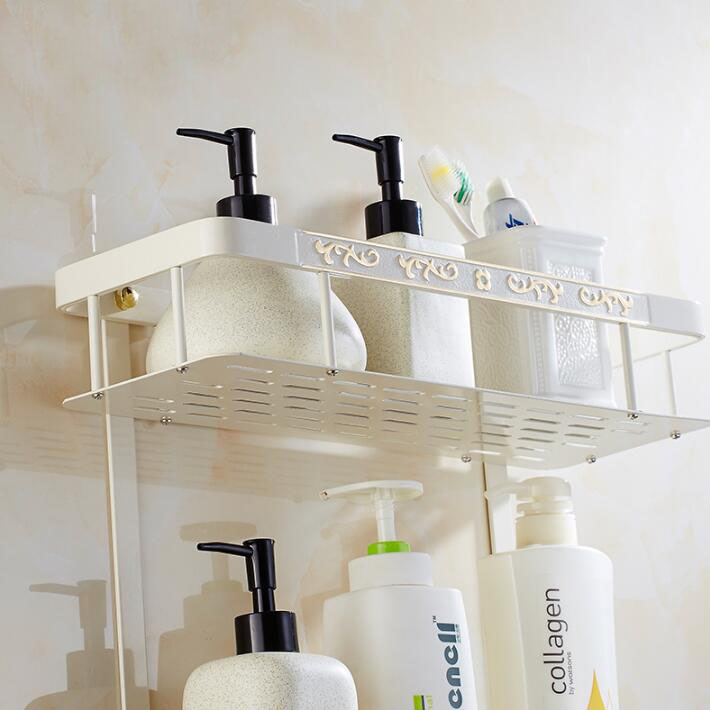 Wall Mounted Gold & White Space Aluminum Bathroom Shelf with towel ...