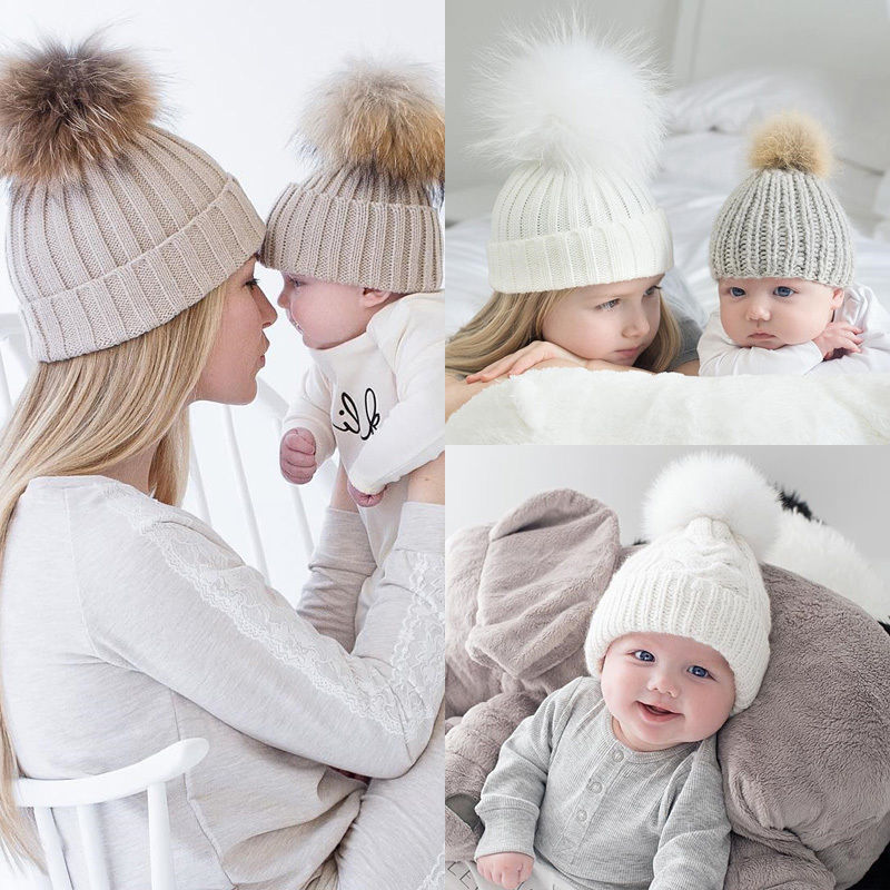 2Pcs Cute Mother and Baby Parent-child Hats Toddler Kids Boys Girls Knitted  Crochet Beanie Winter Warm Fur Crochet Pompon Hat f01b3e40a43