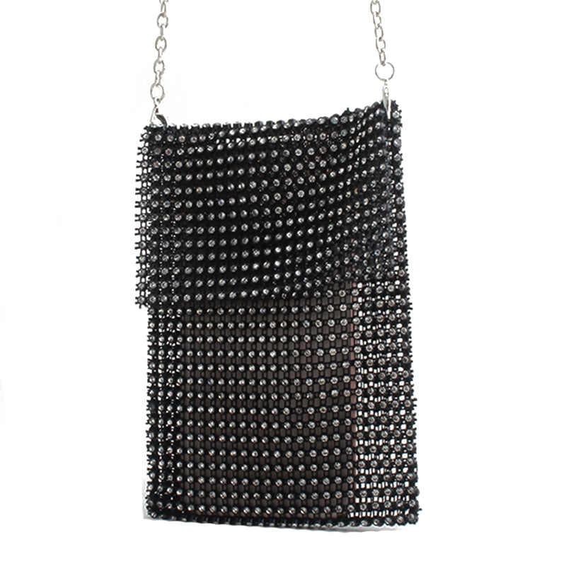 Бриллиантовая сумка Роскошные сумки Женские Дизайнерские Сумочки вечерняя сумочка сумка через плечо с цепочкой черно-белая мини