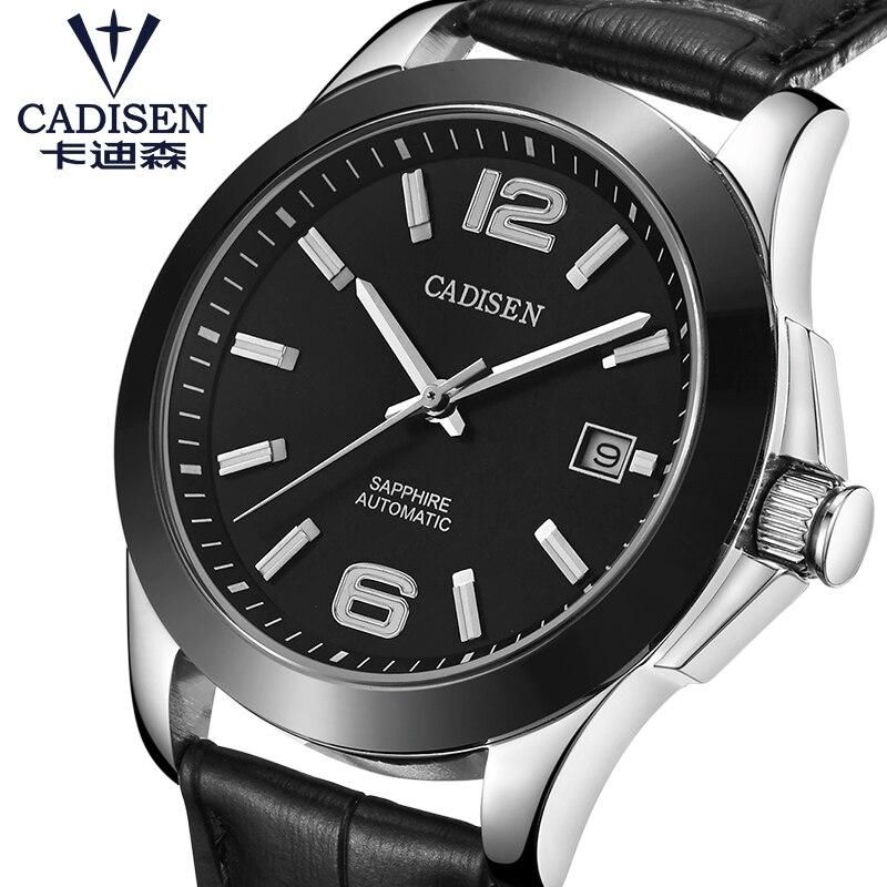 CADISEN Assistir Relógio Dos Homens Automáticos do Aço Inoxidável Japão & Gaivota 5ATM Movt Mecânica Safira Relógio de Pulso Masculino Relogio masculino