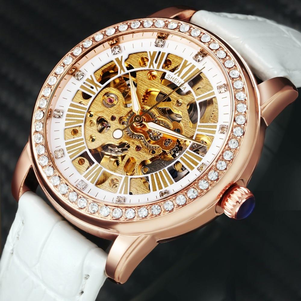 2018 SH mood elegantsed naised mehaanilised käekellad nahast watchband naissoost automaatne kell kristall kaunistamiseks skelett dial