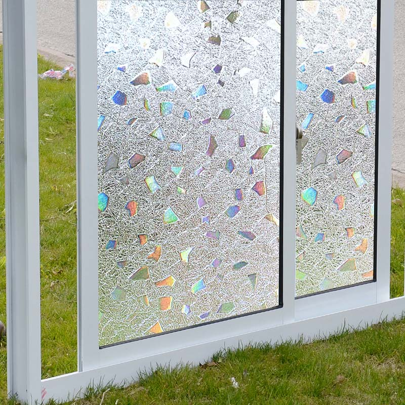 3D Static Cling Removable Window Film Translucent Glass Crystal Flower Glass Sticker Bathroom Slide Door 45x200cm ...