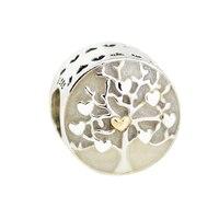 Fandola Beads Fits Pandora Bracelet Tree of Hearts Enamel Charm 925 Sterling Silver Bead Charms Original Beads Jewelry Making