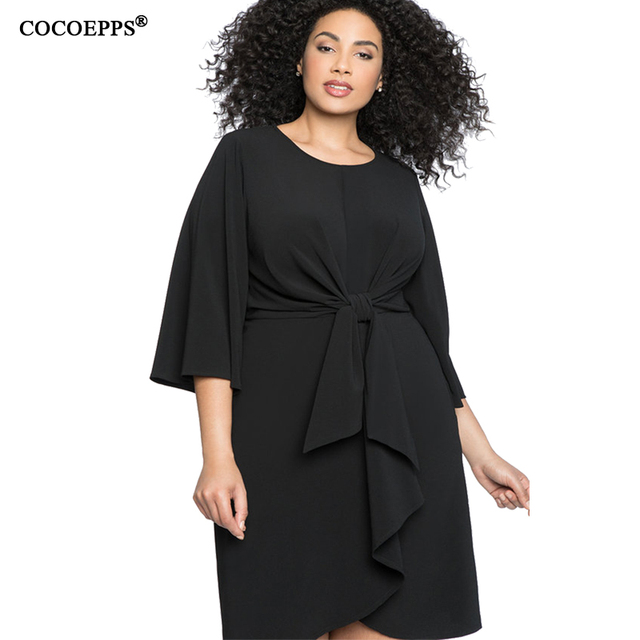 4XL 5XL 2018 Plus Size Women Dress Autumn Female Big Size Dress Elegant Lady Office Party Dress Black Large Size Women Clothing