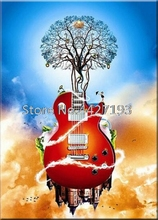 New, 5D DIY Diamond Painting, Cross Stitch,Guitar,Tree, Crystal, Needlework, Full Embroidery, Home Decoration