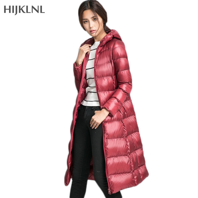 77071c806 HIJKLNL 2017 New Winter Duck Down Jacket Women Long Hooded Coat Parkas  Female Warm Uultra Light Down Jacket High Quality LH1084-in Down Coats from  ...