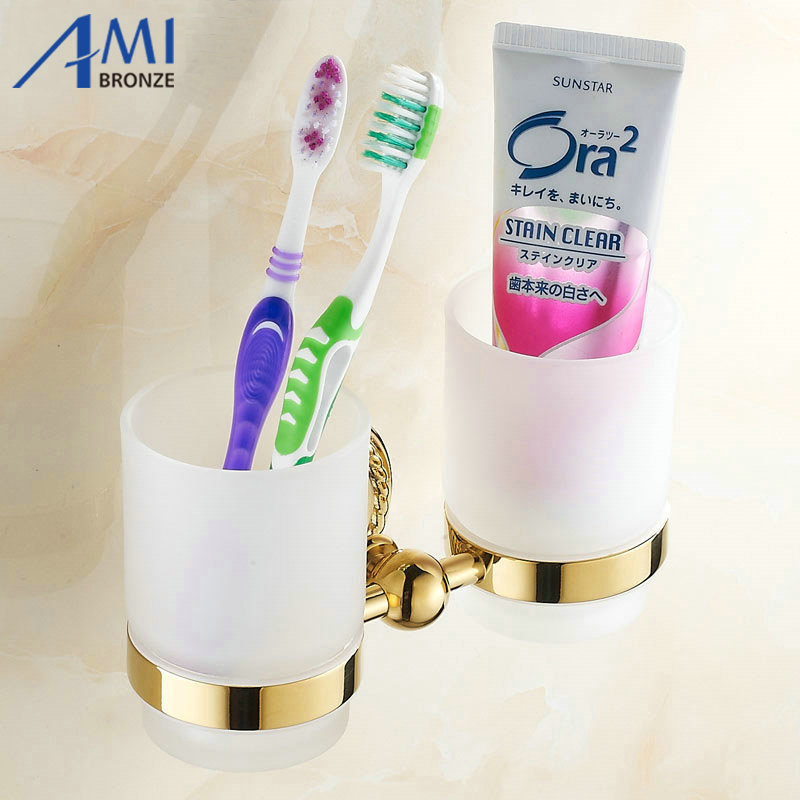 Golden Bathroom Accessories Double Cup Tumbler Holders Toothbrush Cup Holders 7007G flg new modern accessories luxury european style golden copper toothbrush tumbler