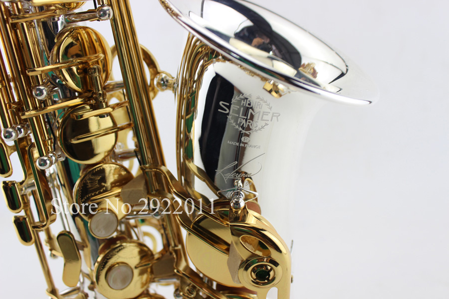 Selmer 54 Series II Saxophone Silvering Alto Eb Sax Gold Key with Mouthpiece High Quality Instruments Professional Saxofone 2016 free new ems dhl french selmer 54 eb alto saxophone professional black gold key instrument sax super and metal mouthpiece