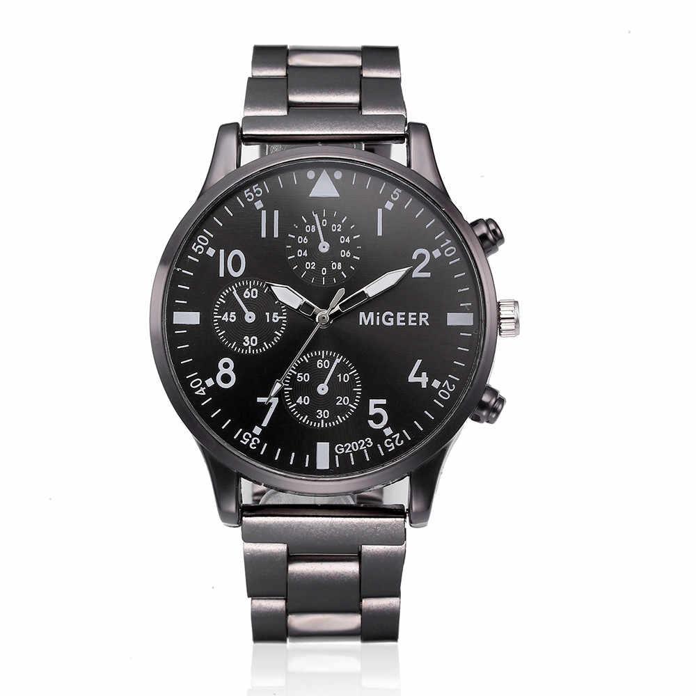 Relojes de pulsera de cuarzo de acero inoxidable y cristal de lujo de moda para hombre reloj de negocios de marca superior reloj 2019