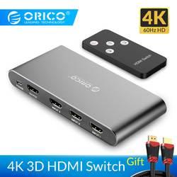 ORICO 3 Вход 1 3 Порты kvm-переключатели Выход 4 K 60 Гц HDMI 2,0 коммутатор 3 Порты и разъёмы для портативных ПК xbox 360 PS3 PS4 ТВ DVD