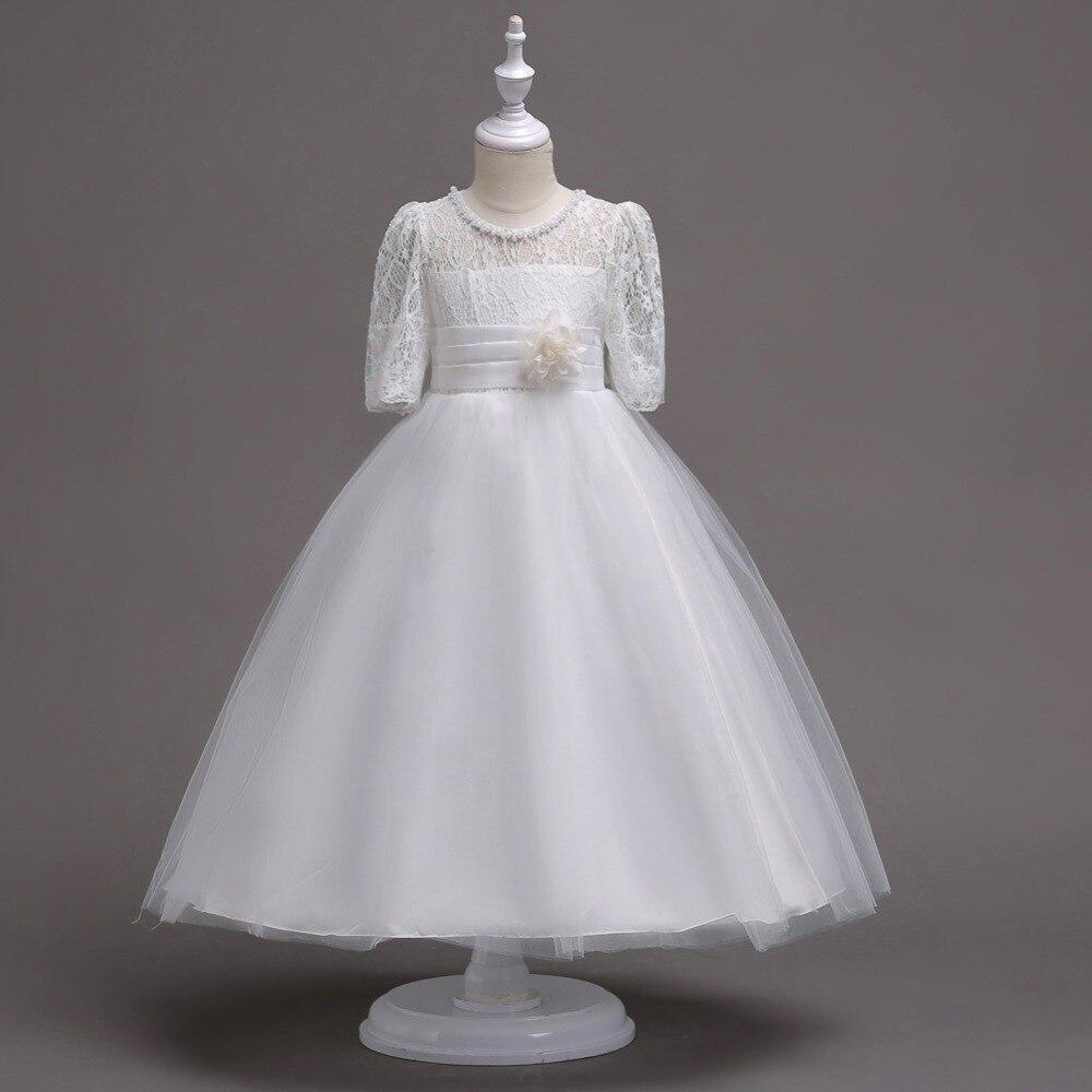 New Year Wedding Tulle Lace Short Sleeve Girl Dress Fancy Autumn Summer KD 1880