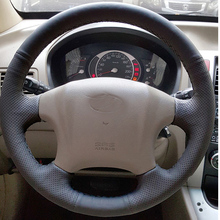 где купить Free Shipping High Quality cowhide Top Layer Leather handmade Sewing Steering wheel covers protect For Hyundai Tucson дешево