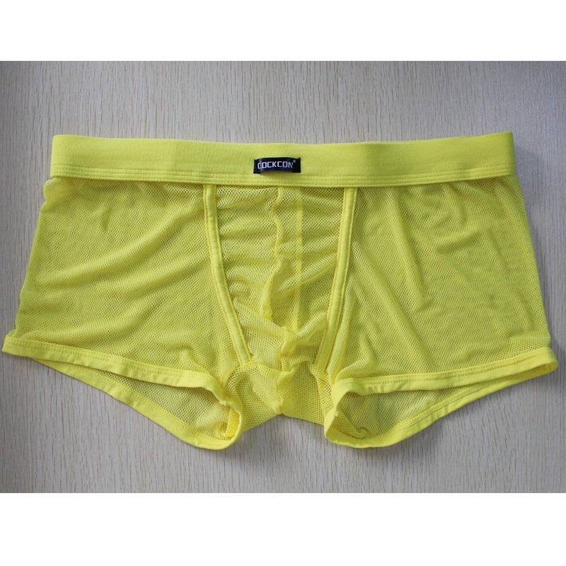 Cockcon Transparent Boxer Men Sexy Gay Underwear Pouch Penis Mesh Breathable Men's Underpants See Through Panties Gauze Shorts