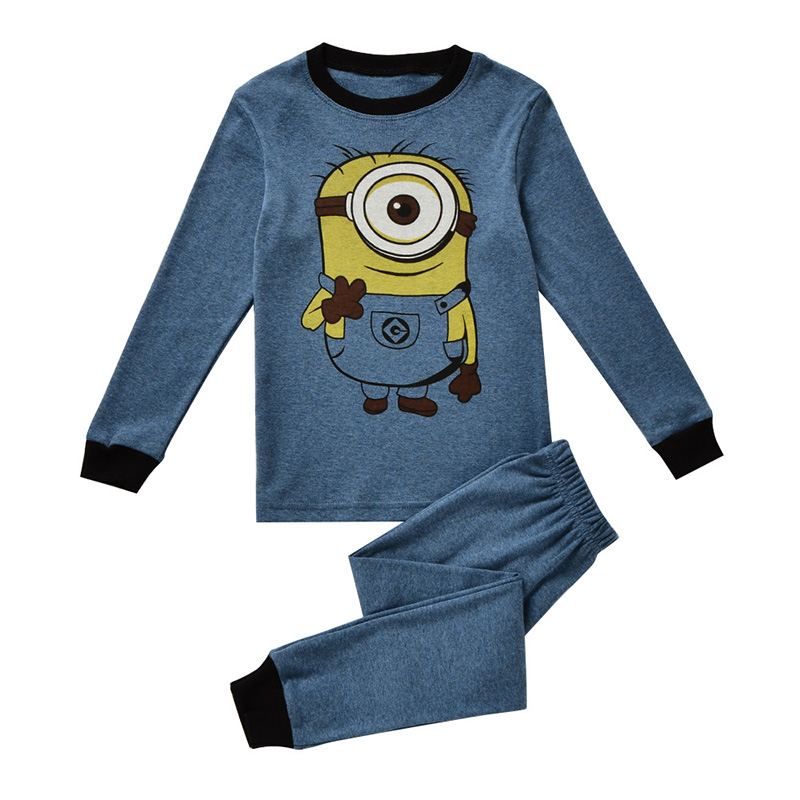 2-7 Years Cute 2017 Baby Boys Pajamas Sets Cartoon Children's Clothing Sets Autumn Minions Kids sleepwear cotton t shirts pants 2 7 years children boys girls christmas pajamas sets children clothing cotton kids long sleeve santa pyjamas for baby sleepwear